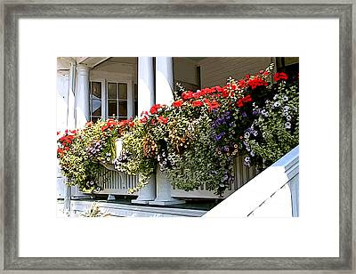 Porch Flowers Framed Print