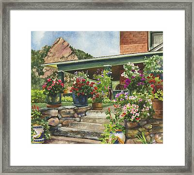 Porch Garden Framed Print by Anne Gifford