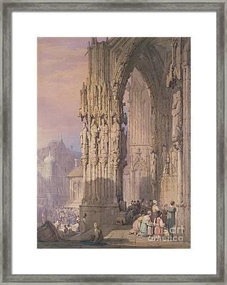 Porch Of Regensburg Cathedral Framed Print