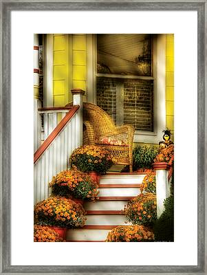 Porch - Westifeld Nj - In The Light Of Autumn Framed Print by Mike Savad