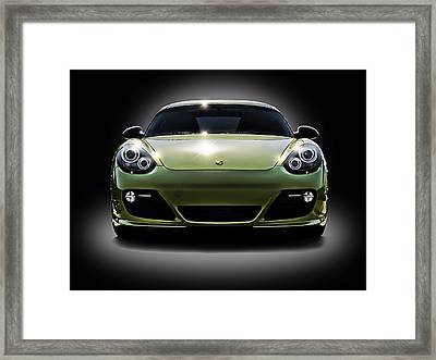 Porsche Cayman In Peridot Paint Framed Print by Douglas Pittman