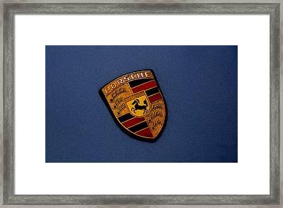 Framed Print featuring the photograph Porsche Marque by John Schneider