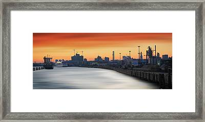 Port Of Hamburg Framed Print by Marc Huebner