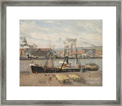 Port Of Rouen Framed Print by Camille Pissarro