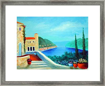 Framed Print featuring the painting Portafino Pleasures by Larry Cirigliano