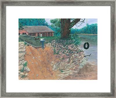 Portage River Cabin Framed Print by Lori  Theim-Busch