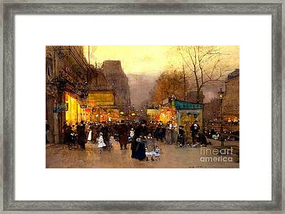 Porte St Martin At Christmas Time In Paris Framed Print by Luigi Loir