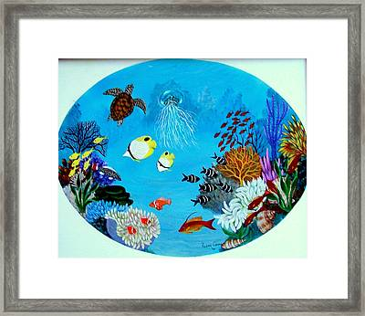 Framed Print featuring the painting Porthole by Fram Cama