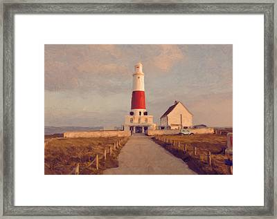 Portland Bill Lighthouse Center Framed Print by Nop Briex