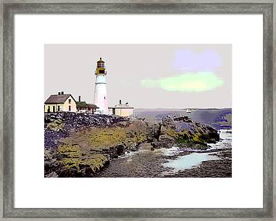 Framed Print featuring the mixed media Portland Head Light by Charles Shoup