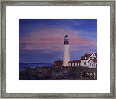 Framed Print featuring the painting Portland Head Lighthouse At Dawn by Julie Brugh Riffey