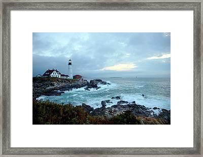 Portland Head Lighthouse At Sunrise Framed Print by Thomas Northcut
