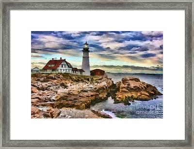 Portland Head Lighthouse In Portland Maine Framed Print by Mary Warner
