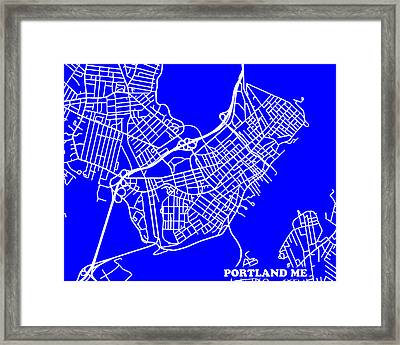 Portland Maine City Map Streets Art Print   Framed Print by Keith Webber Jr
