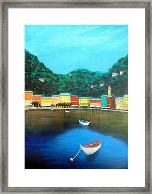 Framed Print featuring the painting Portofino by Larry Cirigliano