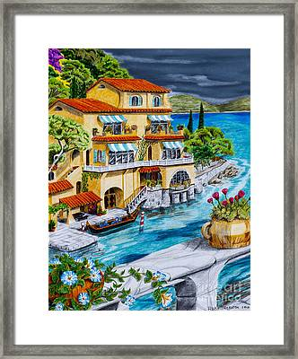 Portofino Villa Framed Print by Robert Thornton