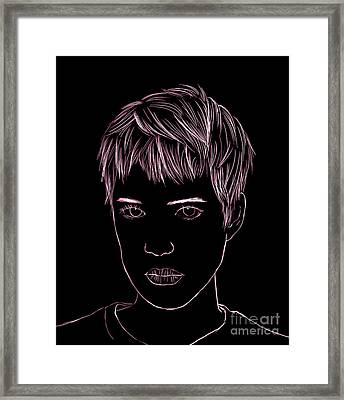 Portrait Drawing Framed Print by Bou Lemon