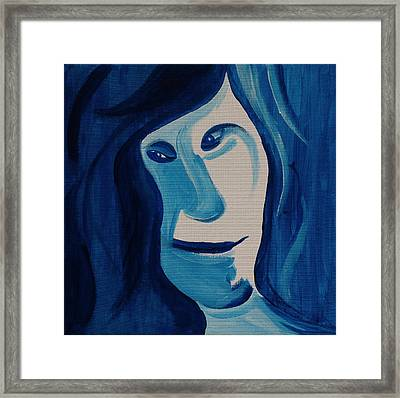 Portrait In Blue Framed Print