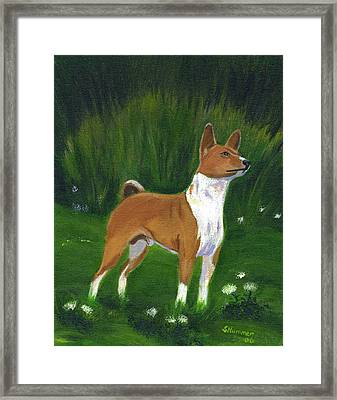 Portrait Of A Basenji Framed Print