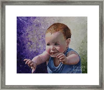 Portrait Of A Boy - Catch Me Framed Print by Tatjana Popovska