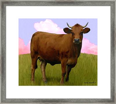 Portrait Of A Cow Framed Print by Snake Jagger