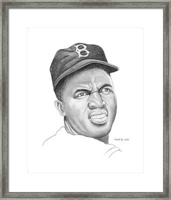 Portrait Of A Hero Jackie Robinson Framed Print