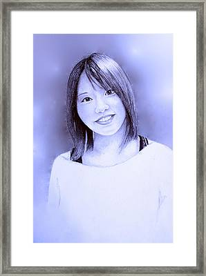 Framed Print featuring the drawing Portrait Of A Japanese Girl by Tim Ernst