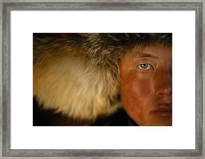 Portrait Of A Kazakh Hunter Framed Print by David Edwards