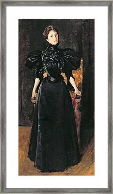 Portrait Of A Lady In Black Framed Print