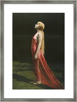 Portrait Of A Nude Woman Draped Framed Print by Franklin Price Knott