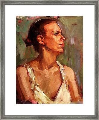 Portrait Of A Stern And Distanced Hardworking Woman In Light Summer Dress With Deep Shadows Dramatic Framed Print