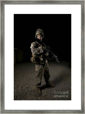 Portrait Of A U.s. Marine Framed Print by Terry Moore