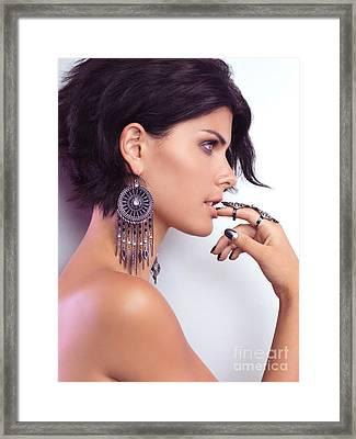 Portrait Of A Woman Wearing Jewellery Framed Print