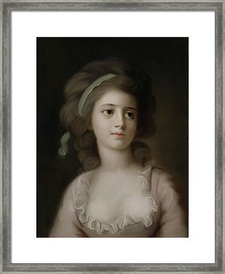 Portrait Of A Young Lady Framed Print by French School