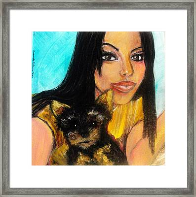 Portrait Of A Young Woman And Her Puppy 2 Framed Print by Amanda Dinan