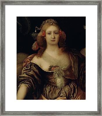 Portrait Of A Young Woman  Framed Print by Girolamo Forabosco