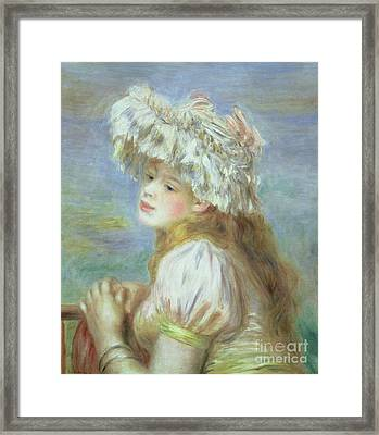 Portrait Of A Young Woman In A Lace Hat Framed Print by Pierre Auguste  Renoir