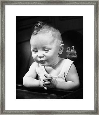 Portrait Of Baby Indoor Framed Print by George Marks