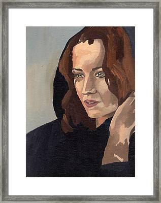 Framed Print featuring the painting Portrait Of Becca 2 by Stephen Panoushek