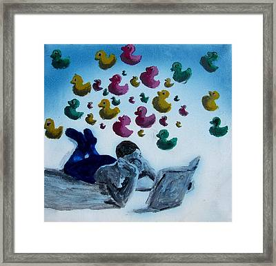 Portrait Of Boy Reading Large Book While Laying On Floor And Fantasizing About Ducks Floating Kids Framed Print by M Zimmerman MendyZ