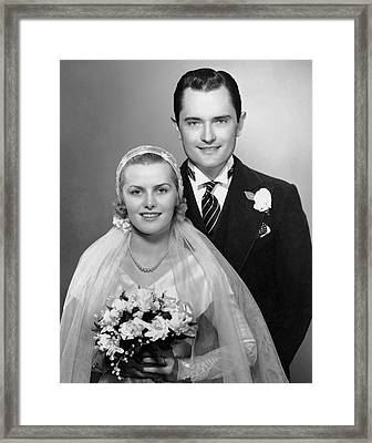 Portrait Of Bride & Groom Framed Print by George Marks