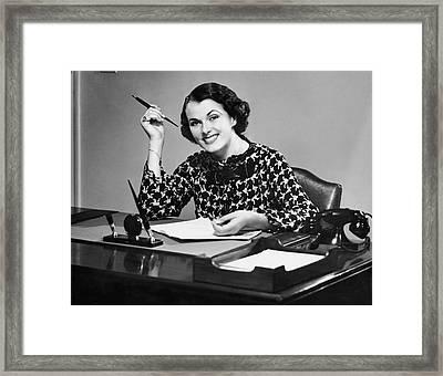 Portrait Of Businesswoman At Desk Framed Print by George Marks
