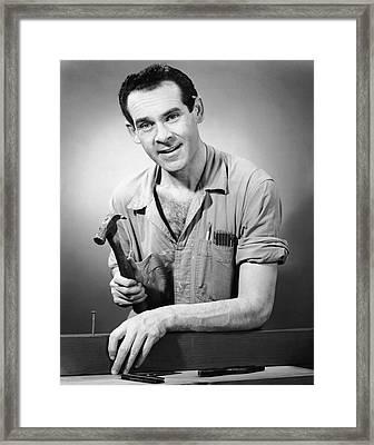 Portrait Of Carpenter Framed Print by George Marks