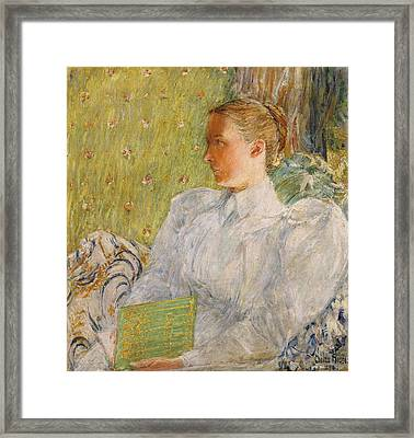 Portrait Of Edith Blaney Framed Print by Childe Hassam