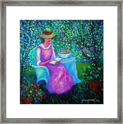 Portrait Of Ellsabeth In Her Garden Framed Print by Glenna McRae
