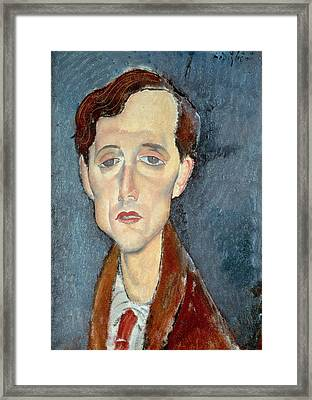 Portrait Of Franz Hellens Framed Print by Modigliani