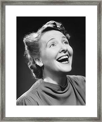 Portrait Of Happy Woman Framed Print by George Marks