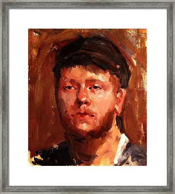 Portrait Of Irish Fisherman With Weary Sad Eyes And Hard Work Face Deep Lines And Lost Souls Cap Framed Print
