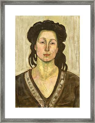Portrait Of Jeanne Cerani Framed Print by  Ferdinand Hodler