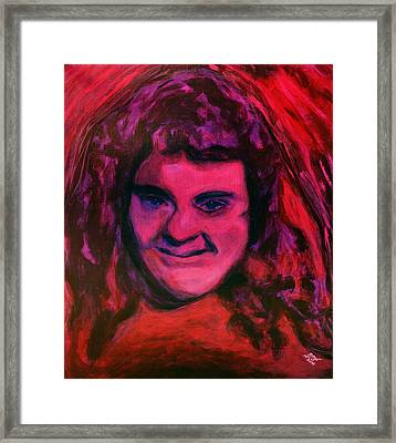 Portrait Of Jenny Friedman Who Never Gave Up. Figure Portrait In Pink Purple And Blue Downs Syndrome Framed Print by MendyZ M Zimmerman